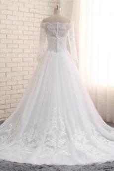 Robe de mariée Longue Bouton Manche Aérienne Naturel taille A-ligne