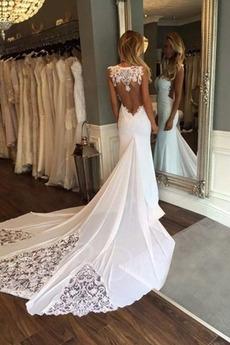 Robe de mariée Sirène Elégant Dentelle Salle Col Bateau Printemps
