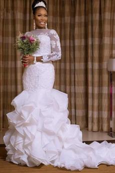 Robe de mariée Elégant Manche Aérienne Sirène De plein air Médium