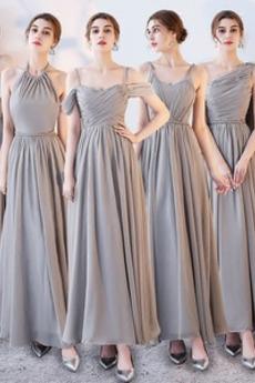 Robe de demoiselle d'honneur Laçage Sans Manches Mousseline A-ligne