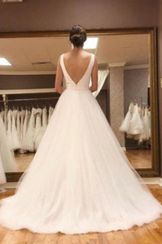 Robe de mariée Soie Naturel taille Dos nu Col en V Simple Longue