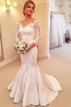 Robe de mariée Sirène Manche Longue Couvert de Dentelle Col en V