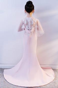 Robe de fille de fleur Chic Traîne Courte Perler Sans Manches
