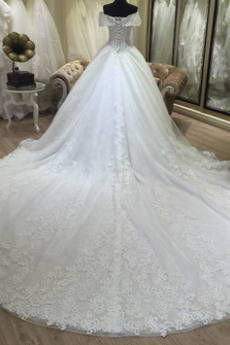 Robe de mariée Mancheron Rosée épaule Basque Manquant Princesse