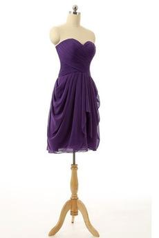 Robe de demoiselle d'honneur Mousseline Naturel taille a ligne