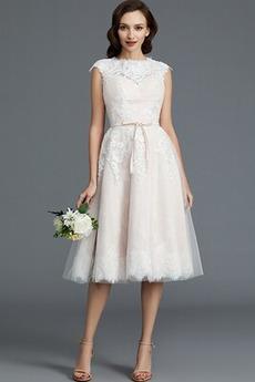 Robe de mariée Couvert de Dentelle Petit collier circulaire Norme