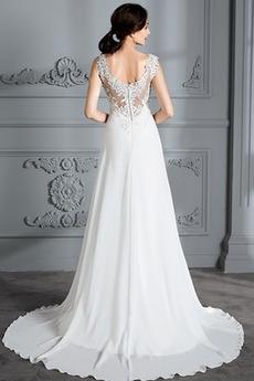 Robe de mariée A-ligne Dentelle noble Manquant Col en V Été Fermeture à glissière