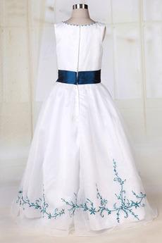 Robe de fille de fleur Organza Longueur de plancher Orné de Nœud à Boucle