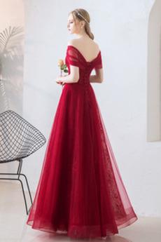 Robe de bal Luxueux Dentelle Rosée épaule Lacez vers le haut
