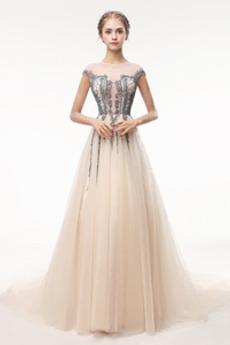 Robe de bal Luxueux Perle aligne gossamer Naturel taille Longue