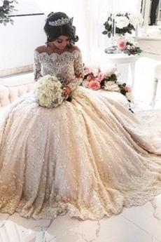 Robe de mariée Perle Traîne Royal Manche Longue Formelle Pomme