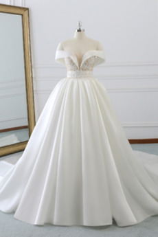 Robe de mariée Sans Manches Traîne Moyenne Sablier noble Printemps