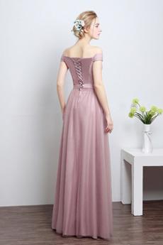Robe de demoiselle d'honneur Été Laçage Rosée épaule Nœud à Boucles