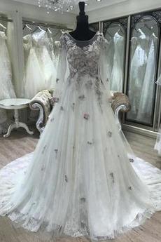 Robe de mariée Manche Longue Col U Profond Manche Aérienne Formelle