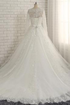 Robe de mariée Manche Longue Chapelle Laçage Perler Sablier Traîne Moyenne