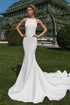 Robe de mariée Sirène Sans Manches Rivage Dentelle Petit collier circulaire