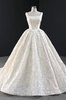Robe de mariée Hiver Sans Manches Formelle Traîne Mi-longue Drapé