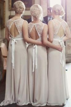 Robe de demoiselle d'honneur Longue Orné de Nœud à Boucle Automne