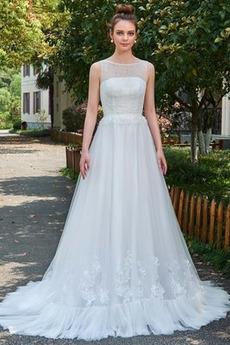 Robe de mariage Pittoresque a ligne Longue Sans Manches Fermeture à glissière