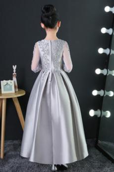 Robe de fille de fleur Longueur Cheville Fermeture à glissière