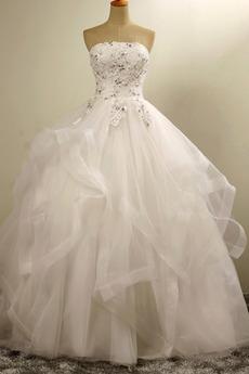 Robe de mariée Sans courroies Organza Norme Perle Automne Cérémonial
