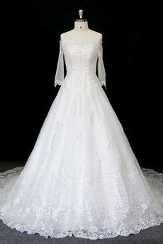 Robe de mariée Manche Longue Perler Formelle Naturel taille A-ligne