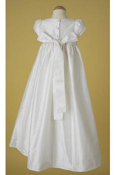 Robe de fille de fleur Princesse Longue Nœud à Boucles Satin