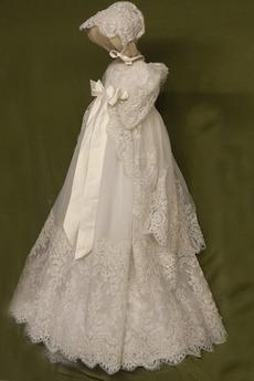 Robe de fille de fleur Naturel taille Norme Longue Automne Manche Courte