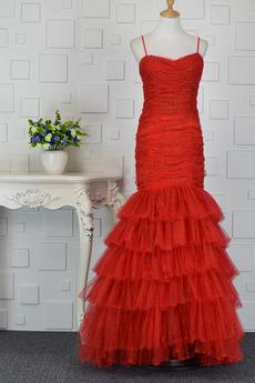 Robe de bal Rouge Gradins Bretelles Spaghetti Elégant Sans Manches