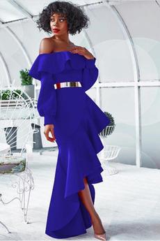 Robe de cocktail Asymétrique Manche de T-shirt Drapé Norme Manche Longue