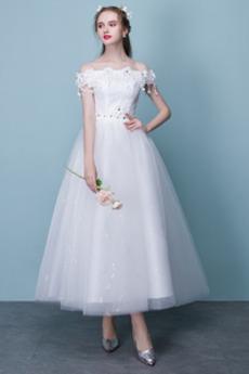 Robe de mariée Manche Courte Plage aligne Médium Longueur Mollet