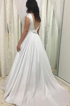 Robe de mariée Sans Manches Été Petit collier circulaire Longue