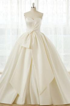 Robe de mariée Orné de Nœud à Boucle Naturel taille Froid Triangle Inversé