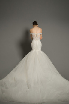 Robe de mariée noble Printemps Perle net Manche Courte Chaussez