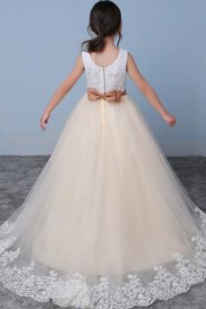 Robe de fille de fleur Cérémonie aligne Longueur Cheville Fermeture à glissière
