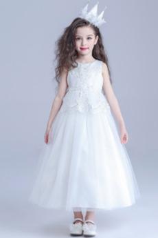 Robe de fille de fleur Mariage Été A-ligne Fermeture à glissière
