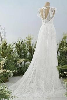 Robe de mariée Plage Soie aligne Printemps Naturel taille Simple