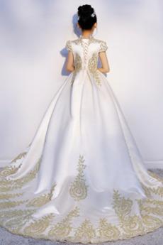 Robe de fille de fleur Hiver Manche Courte Longue Traîne chapelle