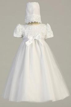 Robe de fille de fleur Traîne Démontable Manche de T-shirt élancé