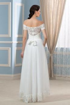Robe de mariée Manche Courte Été Asymétrique Luxueux Naturel taille