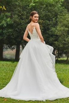 Robe de mariée De plein air Éternel Printemps Tulle Bretelles Spaghetti