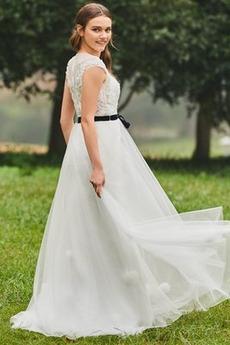 Robe de mariée Manche Courte Fermeture à glissière Petit collier circulaire