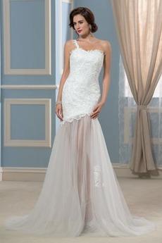 Robe de mariée Dos nu Maigre Une épaule Printemps noble net