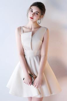 Robe de demoiselle d'honneur A-ligne Ballon Epurée crêper Fermeture à glissière
