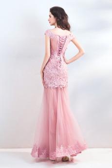 Robe de bal Fête Sans Manches Mode Appliquer Fourreau Avec Bijoux