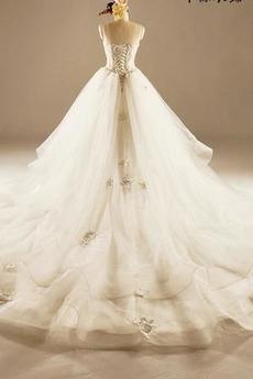 Robe de mariée Princesse Lacez vers le haut Tulle Eglise Col en Cœur