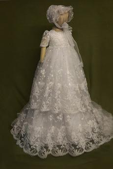 Robe de fille de fleur Bébé Col de chemise t Longue Haute Couvert