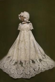 Robe de fille de fleur Manche Aérienne Naturel taille Princesse