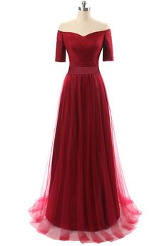 Robe de soirée Mancheron Rouge Mariage Simple Traîne Courte A-ligne