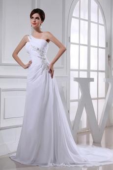 Robe de mariée Sans Manches Longue Une épaule Lacez vers le haut